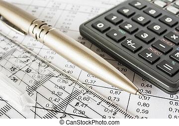 caneta, contas, calculadora