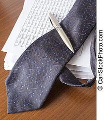 caneta, contas, gravata, contabilidade