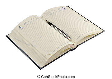 caneta de tinta permanente, diário, aberta