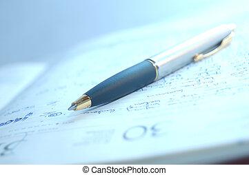 caneta de tinta permanente, e, organizador