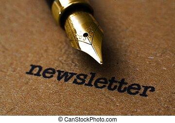 caneta de tinta permanente, ligado, newsletter, texto