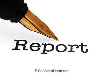 caneta de tinta permanente, ligado, relatório