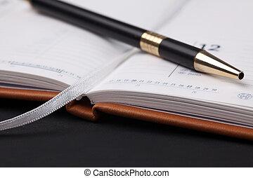 caneta, diário, em branco