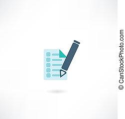 caneta, documento, ícone