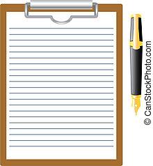 caneta, em branco