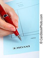 caneta, escrita, fatura, em branco