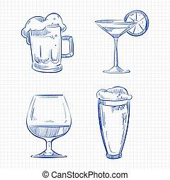 caneta esferográfica, esboço, bebidas