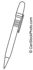 caneta esferográfica, ilustração, contorno