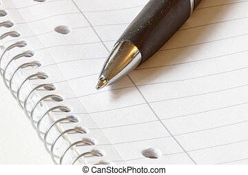 caneta esferográfica, ligado, em branco, papel