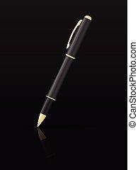 caneta esferográfica, ligado, pretas