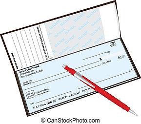 caneta esferográfica, talao cheque
