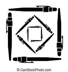 caneta esferográfica, vetorial, ilustração