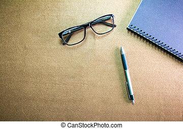 caneta, glasses., negócio, desktop:, caderno, vignette, acessórios