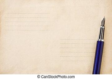 caneta, ligado, antigas, postal, envelope, fundo