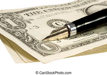 caneta, ligado, dólar cobra