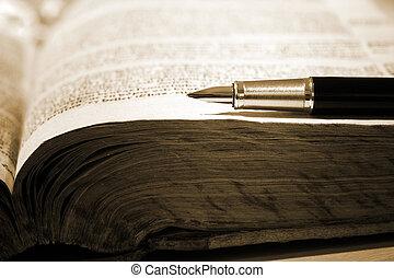 caneta, livro, antigas