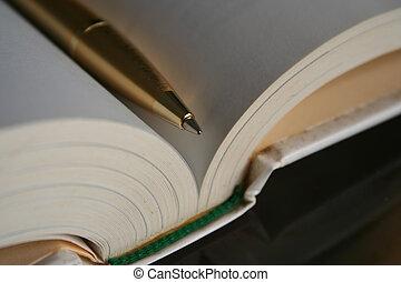 caneta, livro