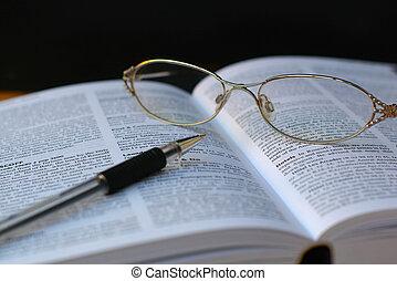 caneta, livro, página, óculos