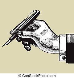 caneta, mão
