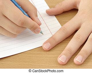 caneta, mãos