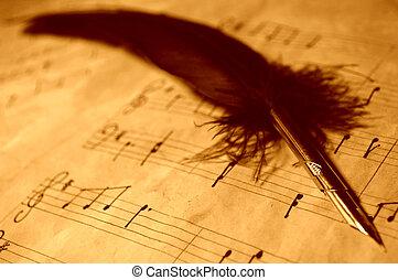 caneta, música, pena