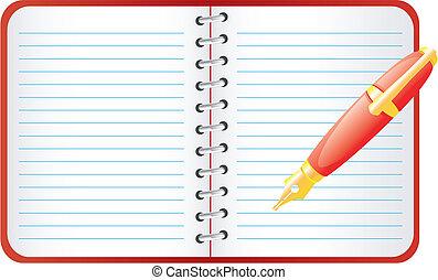 caneta, notebook.