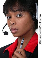 caneta, operativo, segurando, call-centre