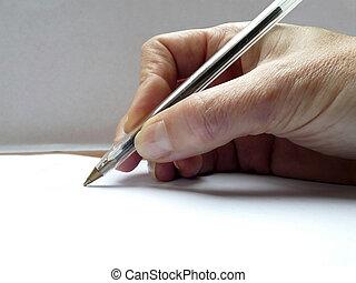 caneta, papel, assinando, mão