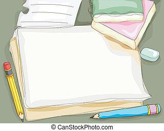caneta, papel, fundo
