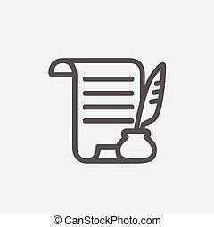 caneta, papel, linha magra, pena, scroll, ícone