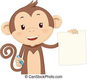 caneta, papel, ter, ilustração, macaco