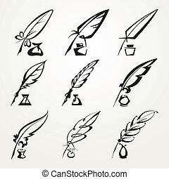 caneta pena, cobrança, tinta