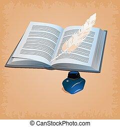 caneta pena, com, livro aberto