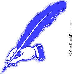 caneta pena, mão, desenho