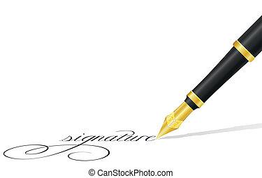 caneta tinta, e, assinatura, vetorial