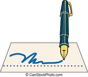 caneta, vetorial, assinatura, ilustração, ícone