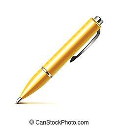caneta, vetorial, branca, isolado
