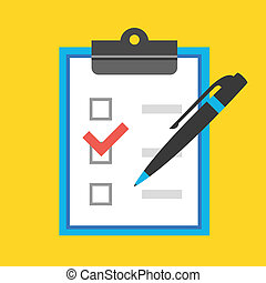 caneta, vetorial, checkboxes, forma
