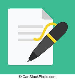 caneta, vetorial, documento, ícone