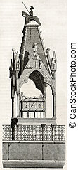 Cangrande della Scala tomb in Santa Maria church, Verona, Italy. Created by Prestat and Montigneul, published on Magasin Pittoresque, Paris, 1844
