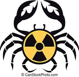 cangrejo, con, radioactivo, señal, vector