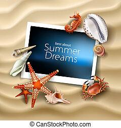 cangrejo, conchas marinas, estrellas de mar, marco de la ...