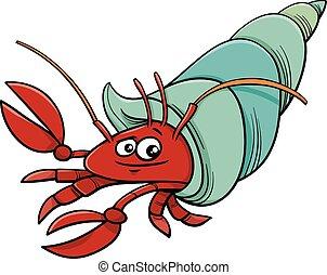 cangrejo, mar, caricatura, ilustración, ermitaño