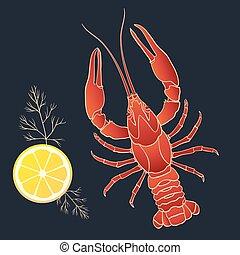cangrejo río, con, limón, y, eneldo