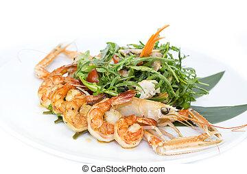 cangrejos de río, ensalada, camarón