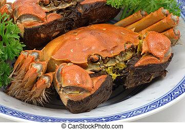 cangrejos, shanghai, cocido al vapor