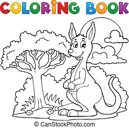 canguro, libro colorear, feliz