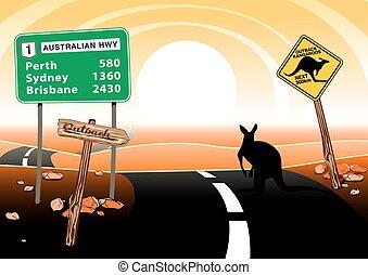 canguru, ficar, ligado, estrada, em, a, outback australiano