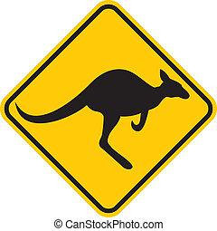 canguru, sinal aviso, (yellow, sign)