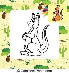 canguru, vetorial, ilustração